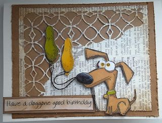 Focus on Papercraft: Crazy Dog stamps (dashund) - 'have a dog gone good birthday' card