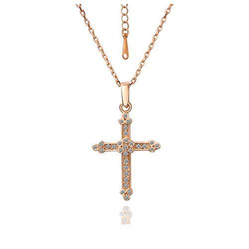Goldkette damen kreuz  Halskette für Damen Gold Rosegold Goldkette mit Kreuz als Anhänger ...