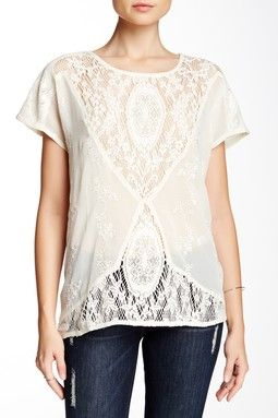 Embroidered Crochet Tee