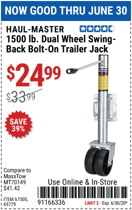 Haul Master 1500 Lbs Dual Wheel Swing Back Bolt On Trailer Jack For 24 99 Trailer Jacks Harbor Freight Tools Harbor Freight Coupon