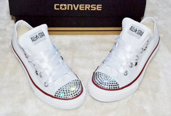 Customised Crystal White Low Top All Star Converse with Blinged Crystal  Toes   White Satin Ribbon Laces Ready To Ship Kids Childs UK Size 11 750ca774bb30