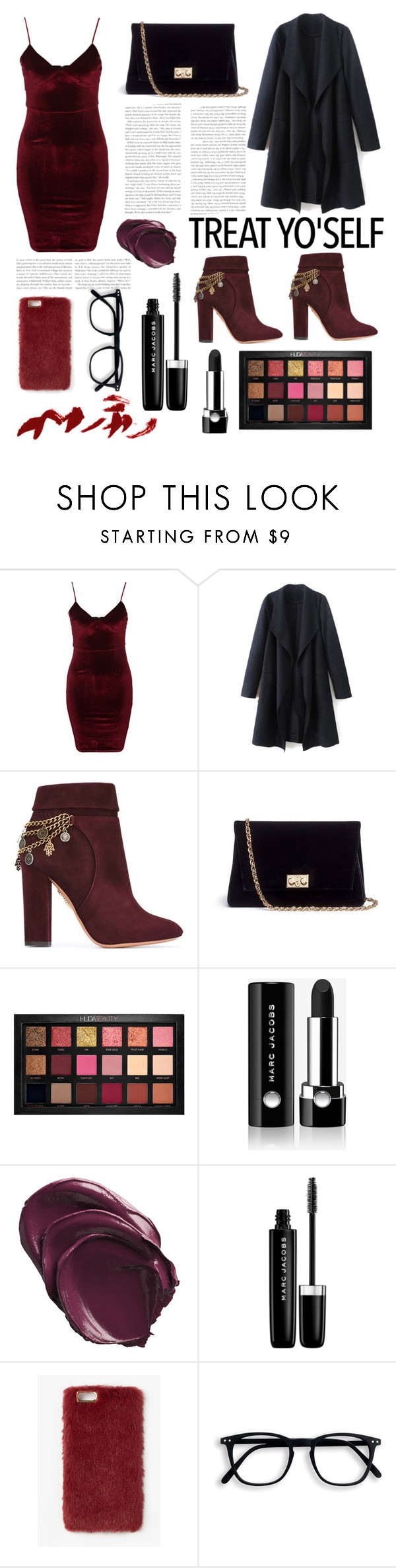 """""""Treat Yourself for Christmas"""" by blushbabes ❤ liked on Polyvore featuring Glamorous, Aquazzura, Rodo, Huda Beauty, Marc Jacobs and Missguided"""
