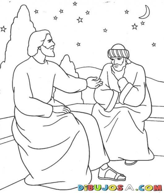 Colorear A Jesus Hablando Con Nicodemo Colorear Biblicos Dibujo Para Colorear A Jesus Hablando Con Bible Coloring Pages Bible Coloring Bible School Crafts