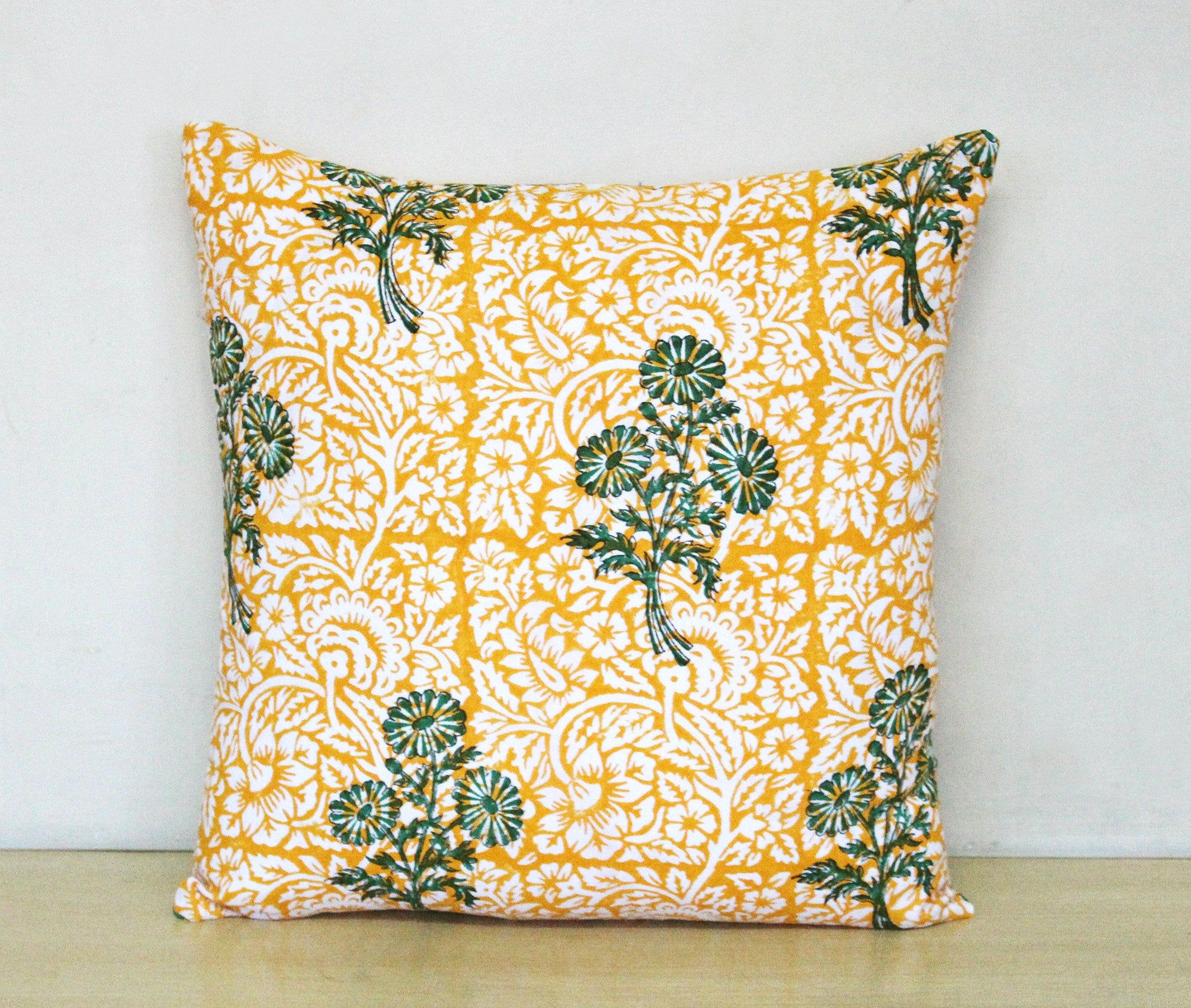 Indian Handmade Floral Block Print Cotton Cushion Cover Pillow Case