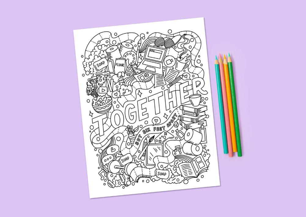 Free Social Distancing Coloring Page Belinda Lettering Artist Illustrator Chicago Free Coloring Pages Coloring Pages Free Coloring