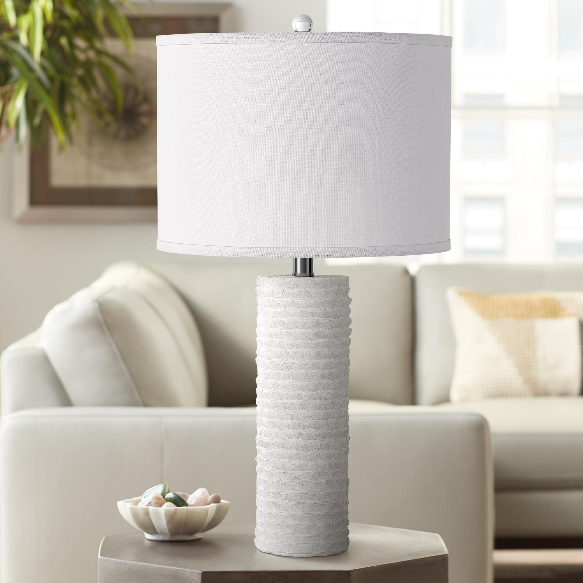 Table Lamps Granite Stone Snowy White Stacked Tower Table Lamp White Table Lamp Table Lamp Lamp