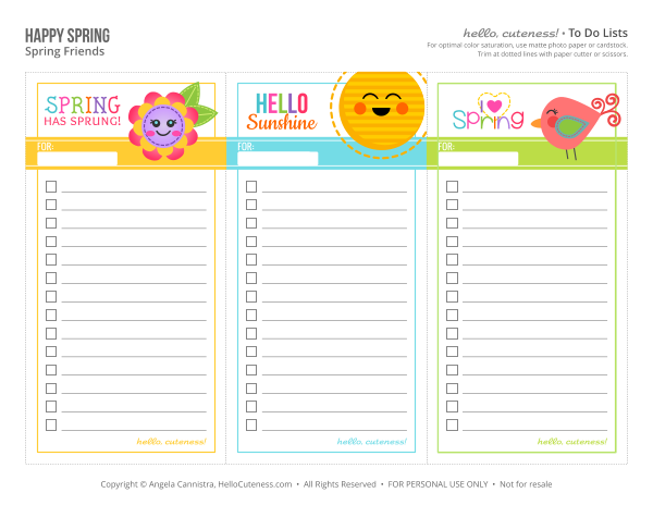 Free Printable Spring to do lists | free printables for organizing ...