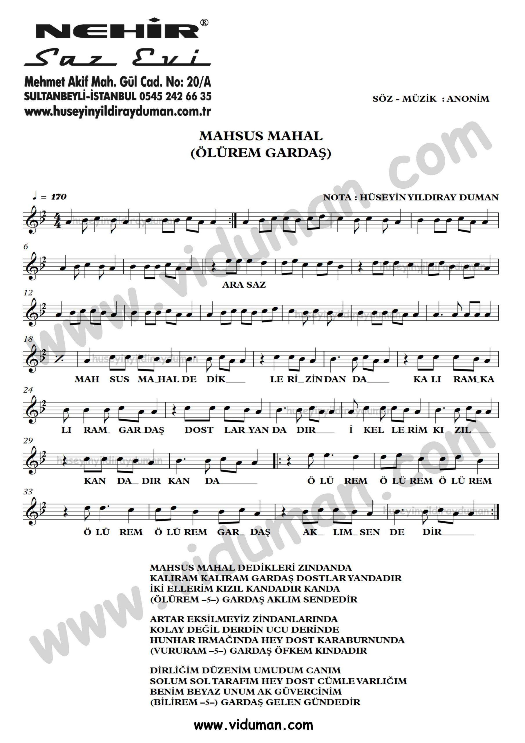 Mahsus Mahal Olurem Gardas Ahmet Kaya Nota Baglama Saz Turku Notalari Muzik Notalari Muzik