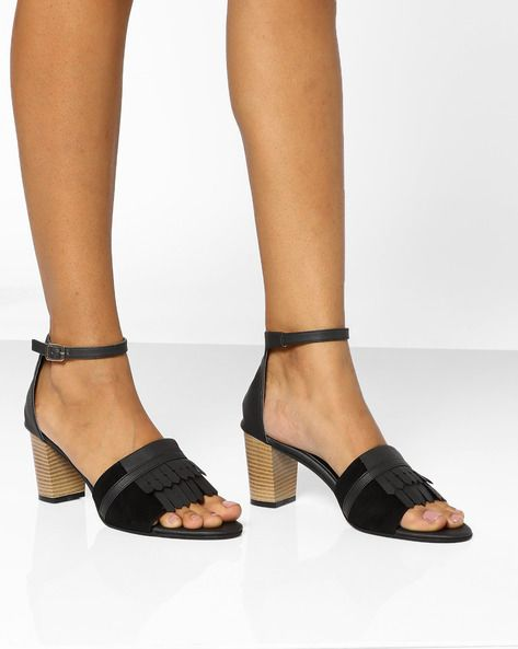 ad5362d1331 Buy Black AJIO Chunky Heeled Sandals with Fringes