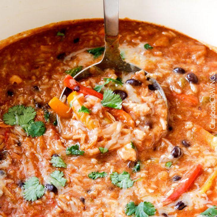 One Pot Pepper Jack Chicken Fajita and Rice Soup Recipe ...