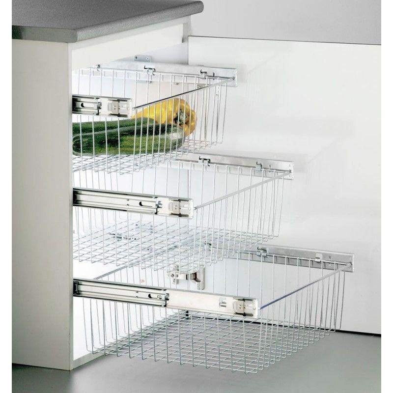 Cesto De Rejilla Extraible Herrajes Para Muebles Cestas De Cocina Interiores De Armarios