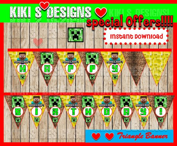 80% OFF SALE Minecraft Triangle Banner instant by kitprintable
