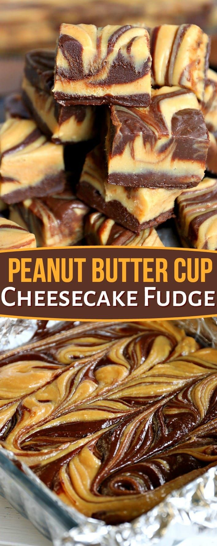 Prepare yourself for the most amazing fudge of your LIFE. This Peanut Butter Cup Cheesecake Fudge is extra creamy, extra decadent, and the perfect addition to any festivities. Share with a chocolate and peanut butter lover today! // Mom On Timeout #peanutbutter #chocolate #cheesecake #Fudge #Christmas #candy #recipe #recipes #sponsored #sweets #treats #Reeses #nobake