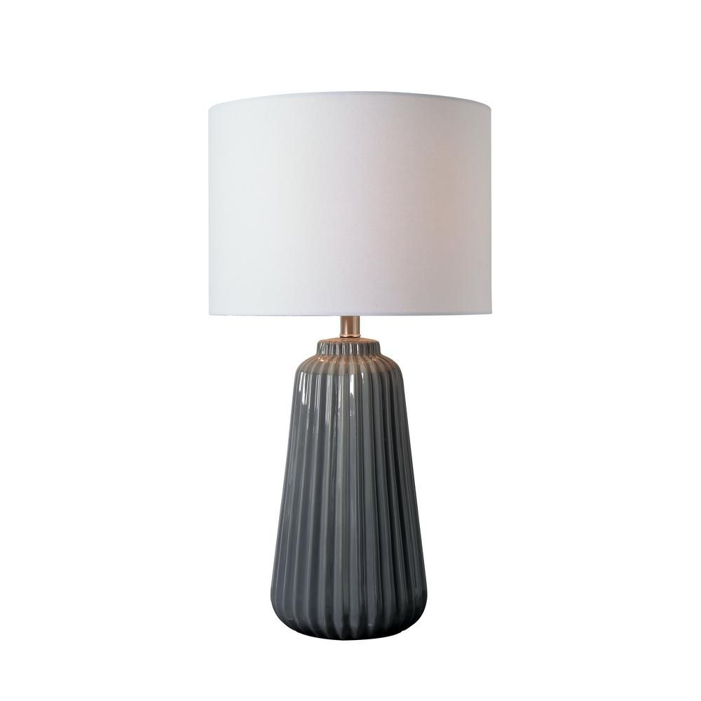 Kenroy Home Ziggy 26 In Gray Table Lamp With White Linen Shade Grey Table Lamps Vase Table Lamp Table Lamp