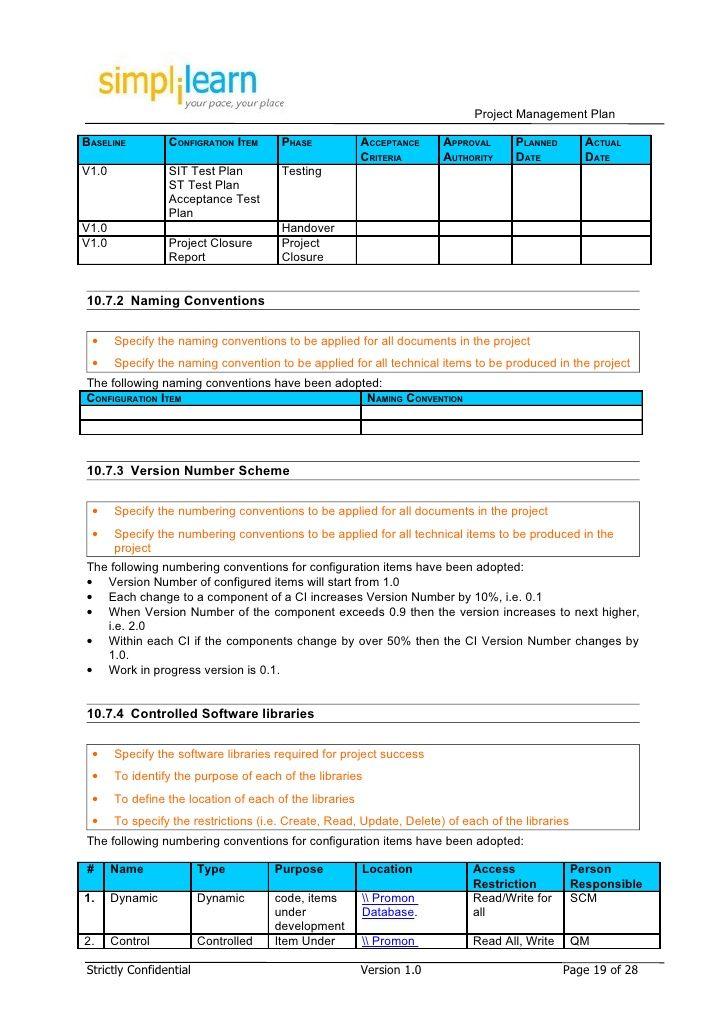 Project Management Plan Template Project management Pinterest