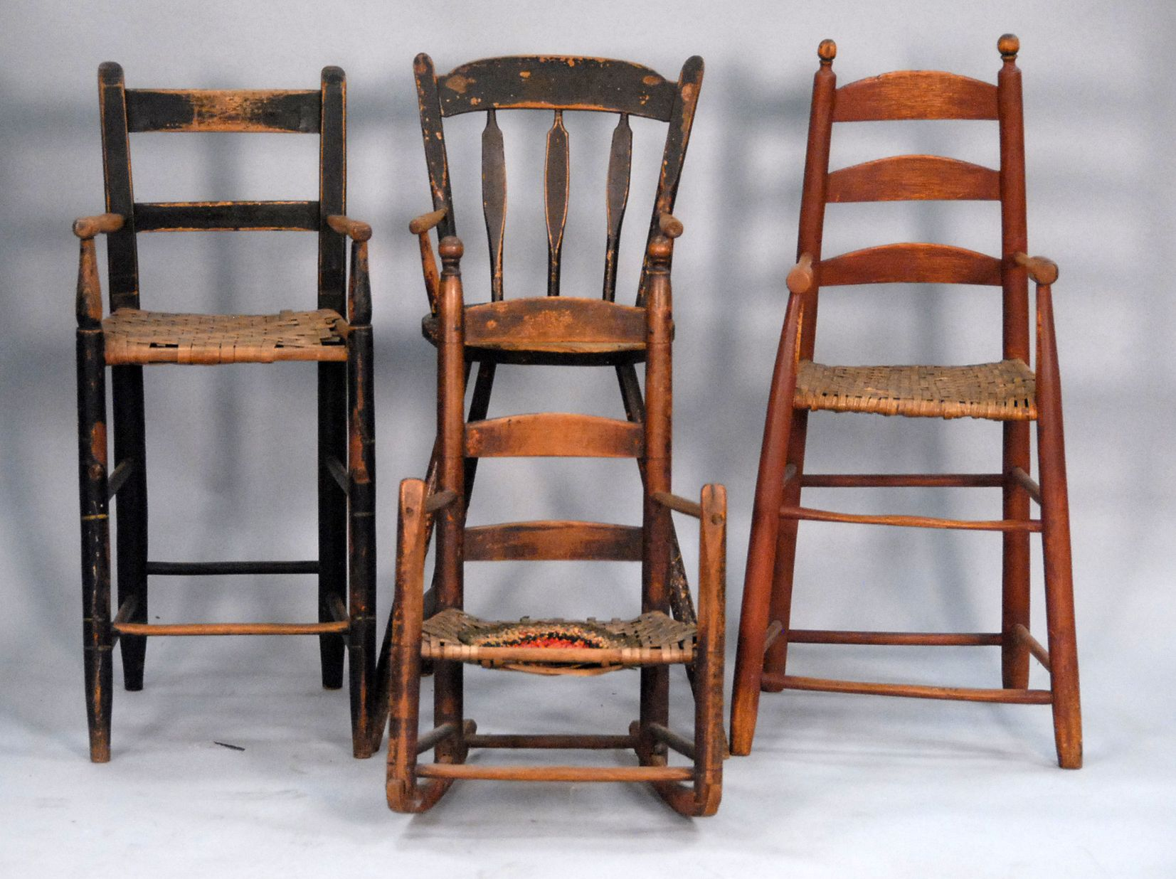 Four Various Primitive Youth Chairs To Include Three Tall