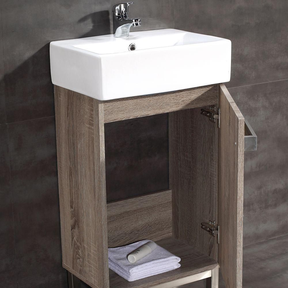 Home Decorators Collection Maelynn 18 In W X 12 In D Bath Vanity In Taupe With Vitreous China Vanity Top In White Hcmaelynn18 The Home Depot Small Vanity Small Bathroom Upgrades Vanity Top