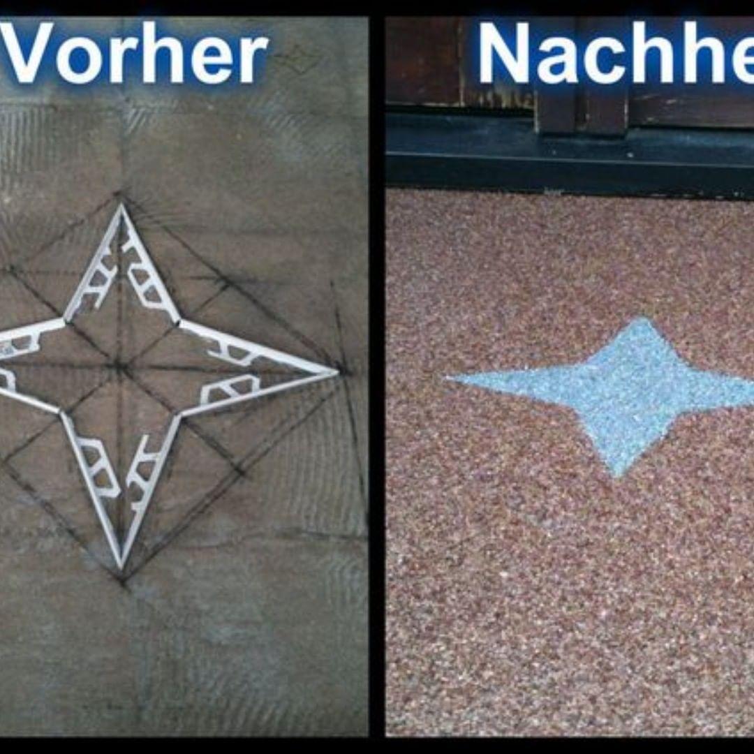 Steinteppich Vorher Nachher Hier Im Beispiel Ein Stern Muster Im Vorher N Beispiel Ein Hier Muster Nachher In 2020 Teppich Renovieren Altbau Sanieren
