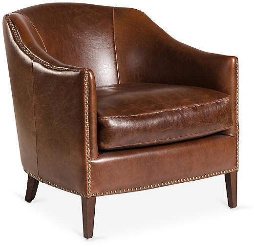Madison Leather Club Chair, Saddle is part of Leather club chairs - This handcrafted occasional chair is upholstered in saddlefinished leather with a walnut stain and handapplied antiqued brass nailheads  The frame is made of birch, a hardwood favored by furniture makers for its durability