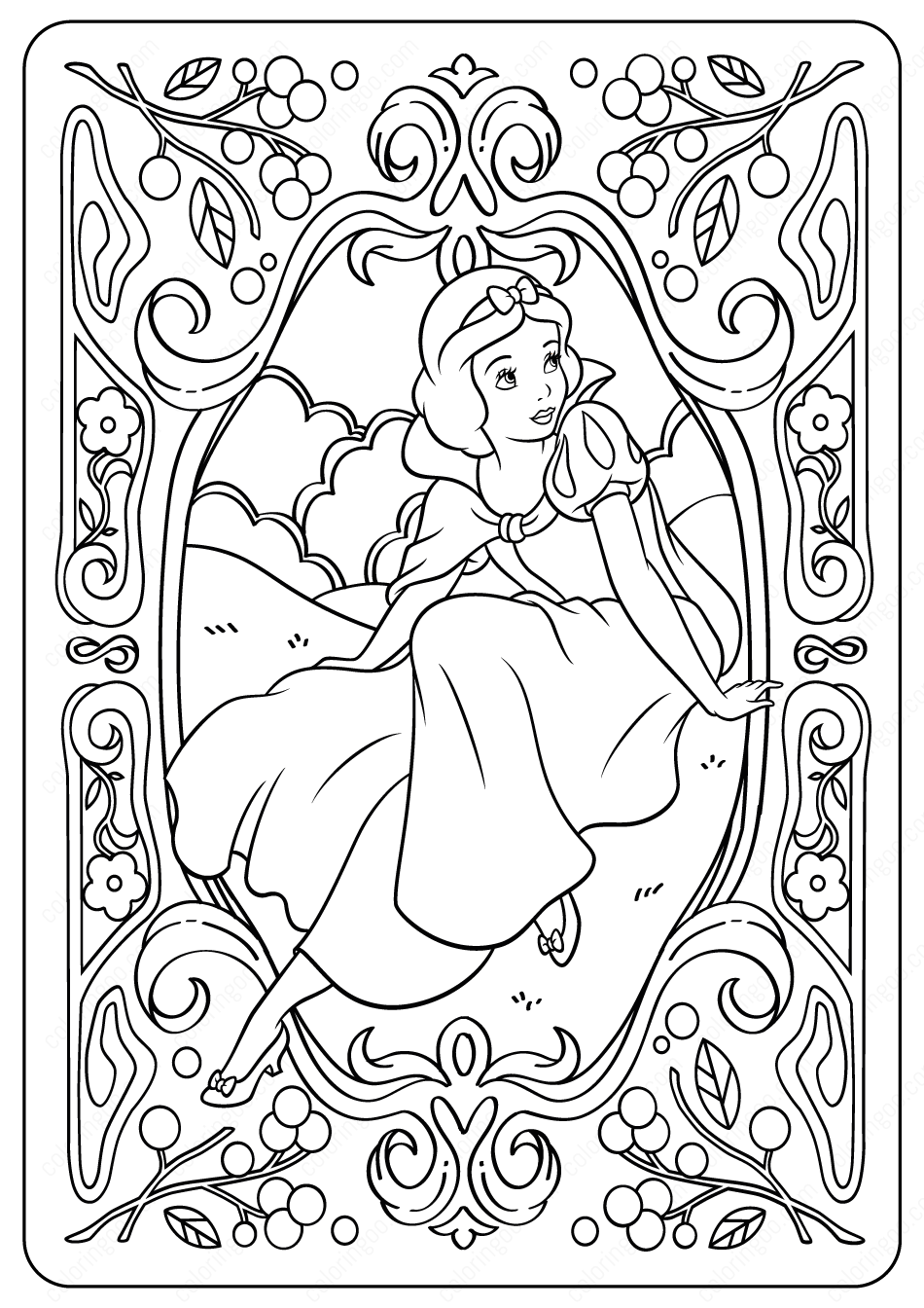 Printable Disney Snow White Pdf Coloring Pages In 2020 Princess