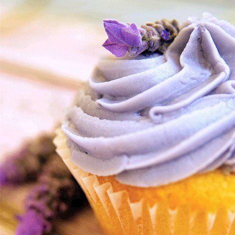 Vanilla buttercake filled with a lavender-cream and topped with lavender-scented buttercream. We make the lavender syrup from the flowers growing in our garden
