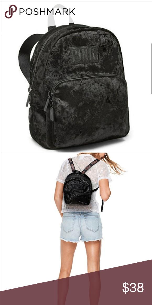 Pink Victoria Secret Velvet black mini backpack. Super cute Velvet backpack!  In perfect condition ! PINK Victoria s Secret Bags Backpacks b787c20c5f09b
