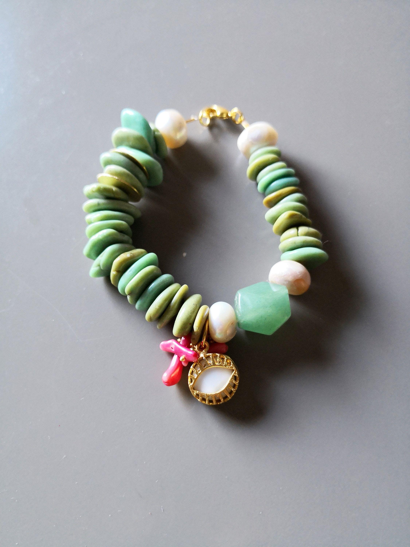 San Francisco ea712 1fa46 Chunky bracelet, aqua bracelet, howlite bracelet, green ...
