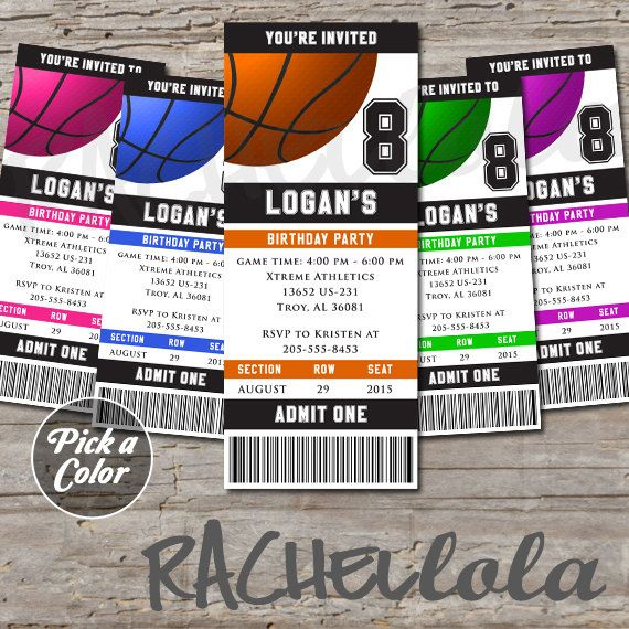Basketball Ticket Birthday Invitation End Of Season Banquet Team Party Tournament Any Color Digital Printable Template