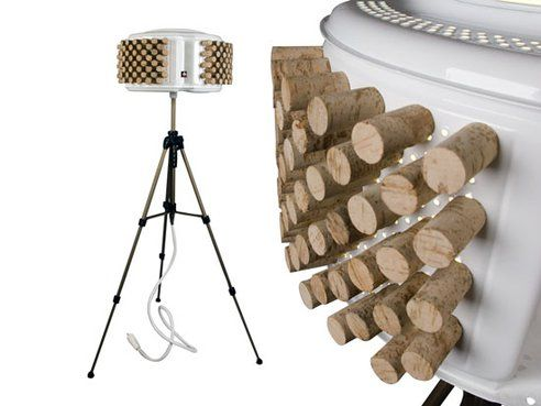 This cool lamp is made from an upcycled washing machine & corks. Cute!