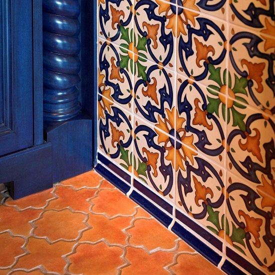 Hand Painted Spanish Wall Tile Paired With Concrete Floor The Look Of Mexican