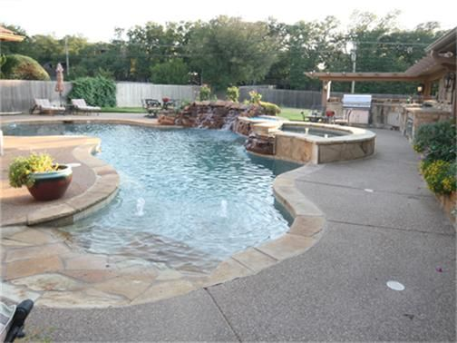 Walk-in Pool with Spa and Waterfall AND Outdoor Kitchen | Backyard on small garden spa, outdoor swimming pool with spa, backyard spa,