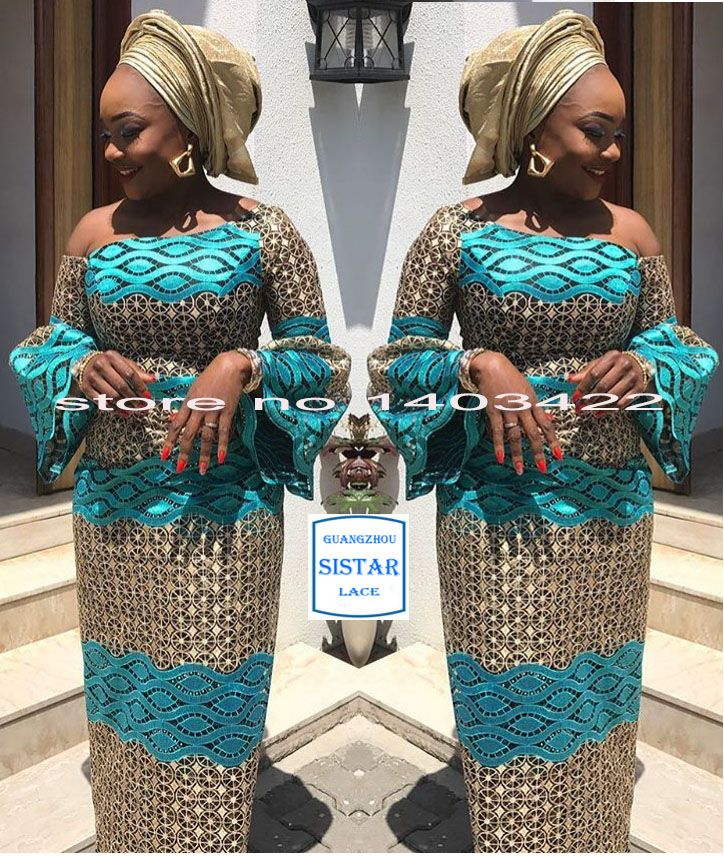 Lace Lovely African Lace Fabric 2018 High Quality Lace Nigerian Lace Fabric With Beaded Aso Ebi Embroidery Tulle French Lace Women 5yard