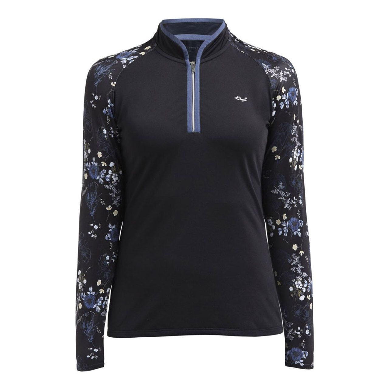 Gorgeous Autumnal Floral Print Polo In Stretch Thermo