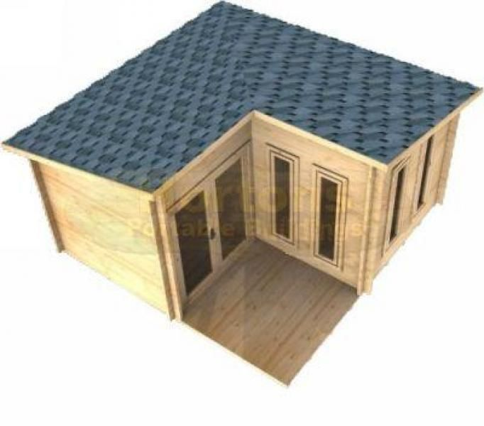 Log cabin 4x4 alton l shaped cabin 28mm logs available for L shaped log cabin floor plans