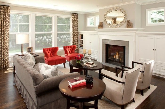 Red Chair living room living room curtains fireplace wall ...