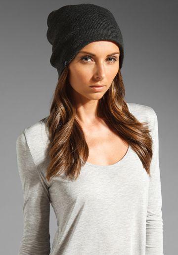 fa101bdadb8 PLUSH Barca Slouchy Hat w  Fleece Lining in Charcoal at Revolve Clothing
