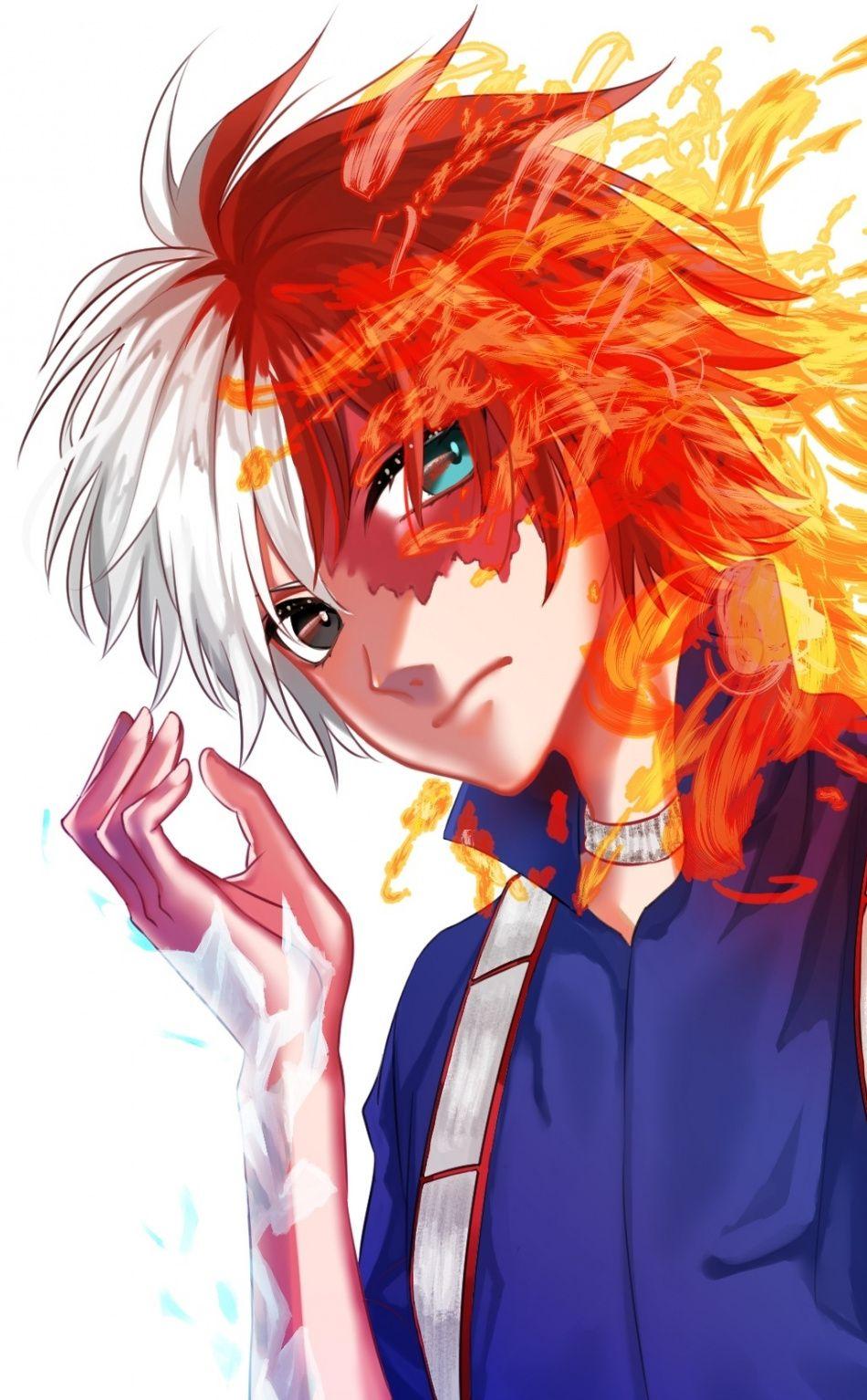 Anime Boy Artwork Shoto Todoroki 950x1534 Wallpaper Anime Boy Anime Boys Artwork