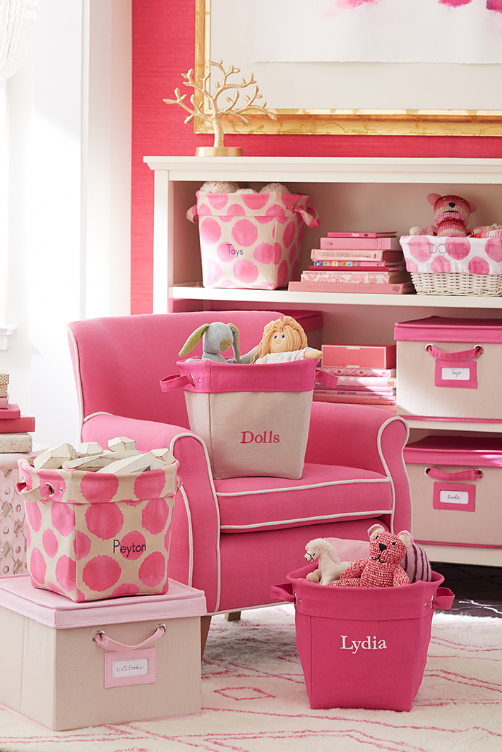 Tuck away toys and games of all sizes into our canvas storage bins. Whether they're in the nursery or the family room