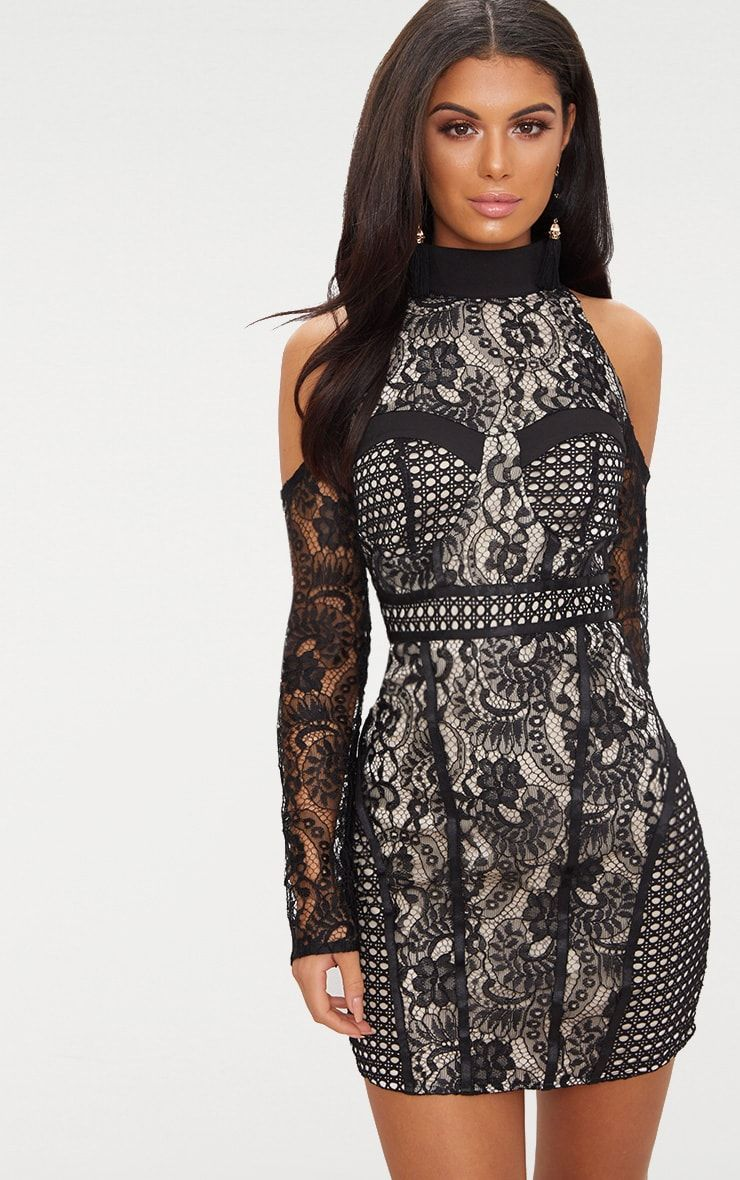 8db169d4a587d Black Cold Shoulder Lace Panelled Bodycon Dress   party style   Robe ...