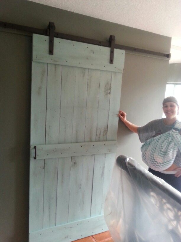 Distressed Barn Door Install While Babywearing My Builds