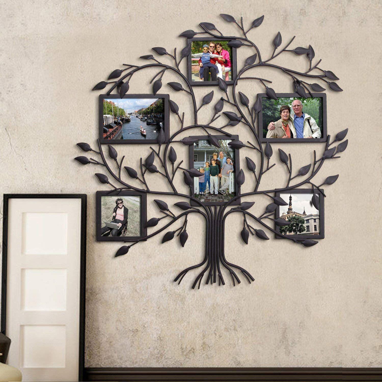 Asense black metal family tree wall hanging decorative