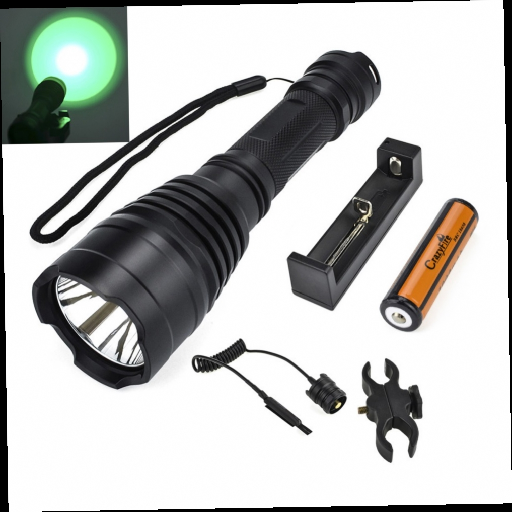 41.84$  Watch now - http://alijlf.worldwells.pw/go.php?t=32633617353 - LED Tactical Flashlight Torch 1 Mode 500M Long Lighting Distance Hunt Lanterna Lampe Torche + Remote Pressure Switch & Gun Mount 41.84$