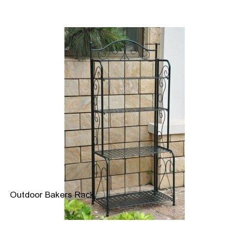 Outdoor Bakers Rack Plant Stand Outdoor Patio Wrought Iron Shelves Garden  Metal