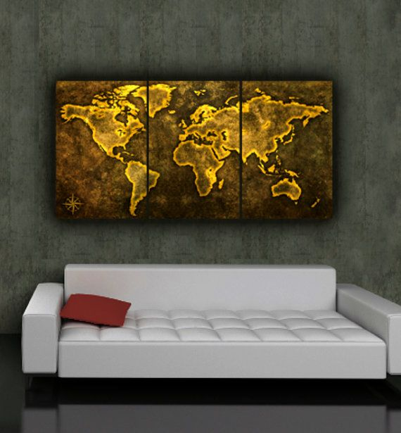World map art on canvas browngolds 3 panel gallery wrap set explore world map canvas world map art and more gumiabroncs Gallery
