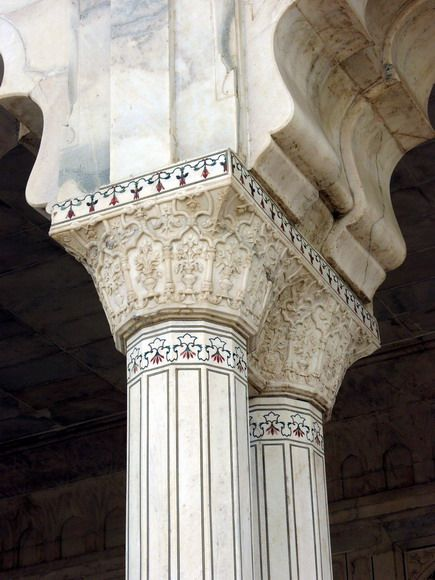 Agra Fort Marble Columns Throughout Are Inlaid With