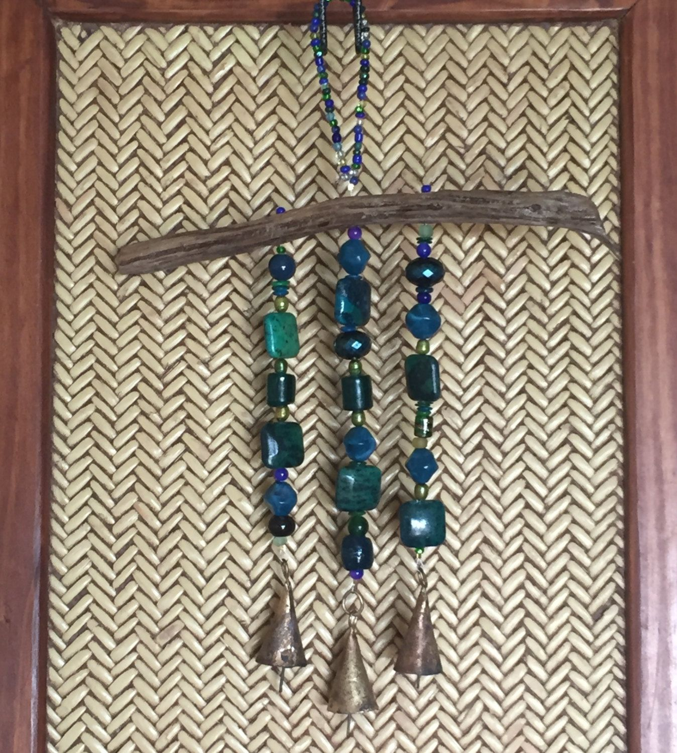 Mobile. Driftwood/bead mobile. Indoor/outdoor décor. Garden art. Wall Hanging. Meditation. Eco-friendly and upcycled. Turquoise beads. Bells by NorthwestSpindrift on Etsy