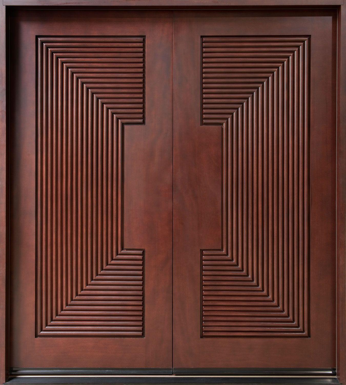 Modern Front Door Custom Double Solid Wood With Dark Mahogany Finish Modern Model Db 580a Dd Wooden Main Door Design Wood Entry Doors Wooden Main Door