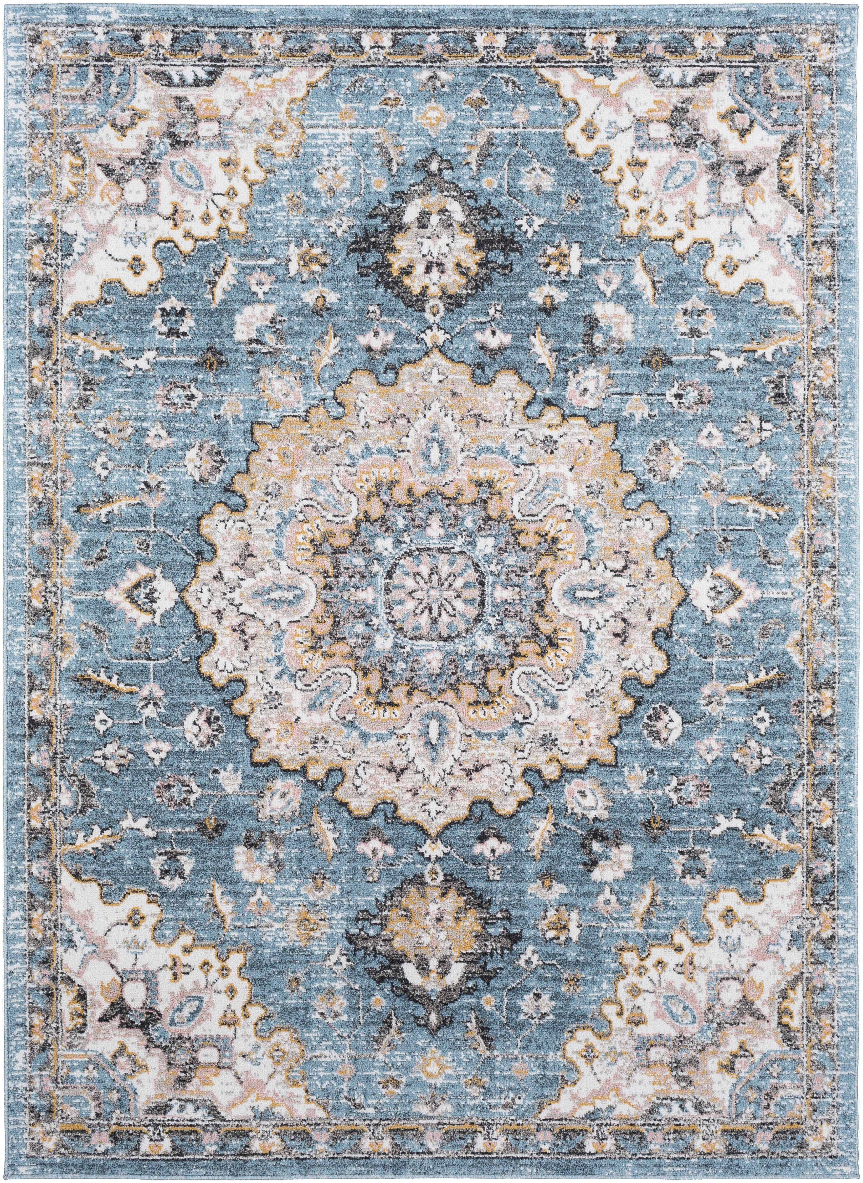 The Jemma Rug Features A Gorgeous Circular Center Display Adorned With Dainty Flourishes Flowers And Vines Contrasting Colors Make F Aqua Rug Rugs Area Rugs