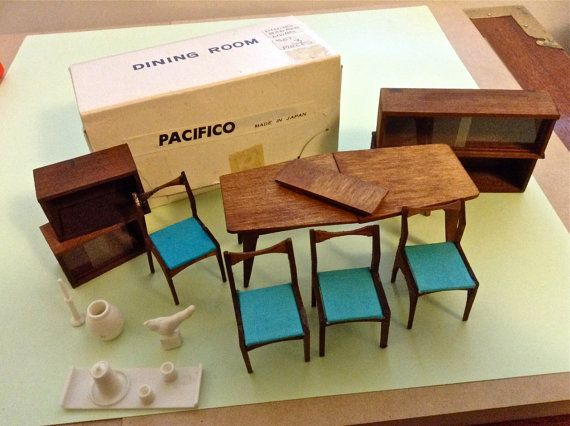 dollhouse dining room furniture. vintage miners industries japan mid century modern dollhouse dining rm furniture lot room