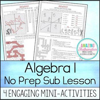 Algebra 1 No Prep Sub Lesson | Algebra, Math and Substitute teacher